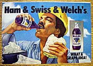 1973 Welch's Grape Juice With Man Eating Lunch