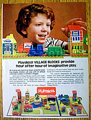 1982 Playskool Toys With Village Blocks & Little Boy