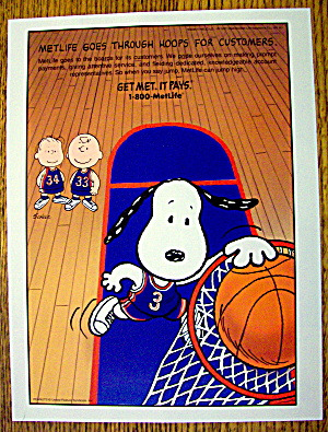 1997 Metropolitan Life With Snoopy & Basketball