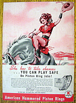 1948 Koppers Piston Rings With Girl On Horse