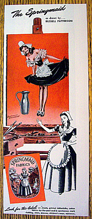 1946 Springmaid With Maid Drawn By Russell Patterson