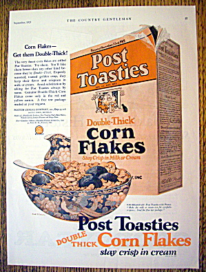 1925 Post Toasties Corn Flakes With Box Of Cereal
