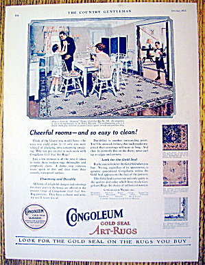 1926 Congoleum Gold Seal Rug With Family Eating