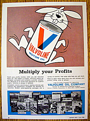 1968 Valvoline Motor Oil With Bunny Rabbit
