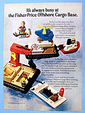 1979 Fisher Price Offshore Cargo Base With Little Boy