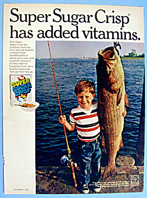 1969 Post Super Sugar Crisp With Boy And Fish