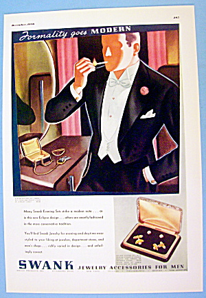 1936 Swank Jewelry With Man Lighting Cigarette In Mouth