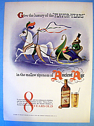 1940 Ancient Age Whiskey With Man In Sleigh