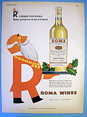 1944 Roma Wine With Santa Carrying Tray