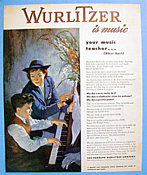 1946 Wurlitzer Piano With Boy Playing Piano