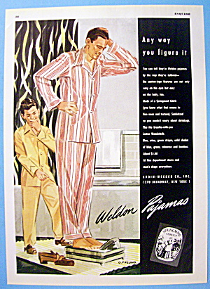 1946 Weldon Pajamas with Man On Scale & Boy Laughing (Image1)