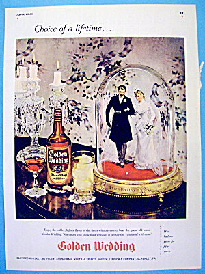 1946 Golden Wedding Whiskey With Bride And Groom