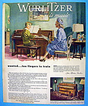 1947 Wurlitzer Piano with Woman Watching Boy Play Piano (Image1)