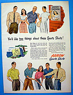 1947 Arrow Sport Shirt with Woman Talking To Men (Image1)