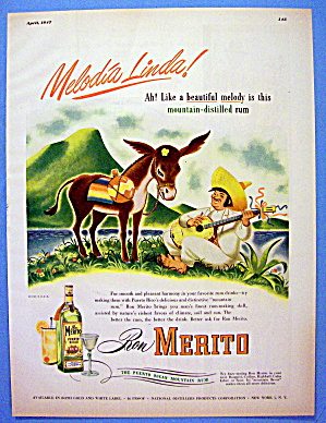 1947 Ron Merito Rum With Man And Donkey
