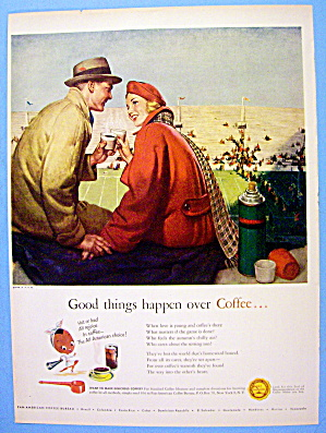 1948 Coffee Time With Couple At Football Game