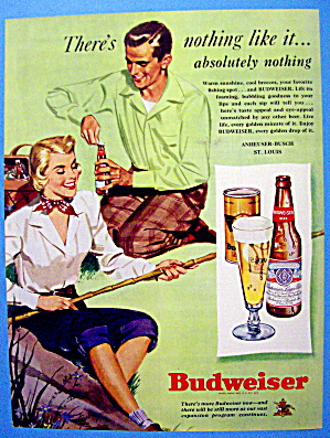 1949 Budweiser Beer W/man Opening Bottle & Woman Fishin