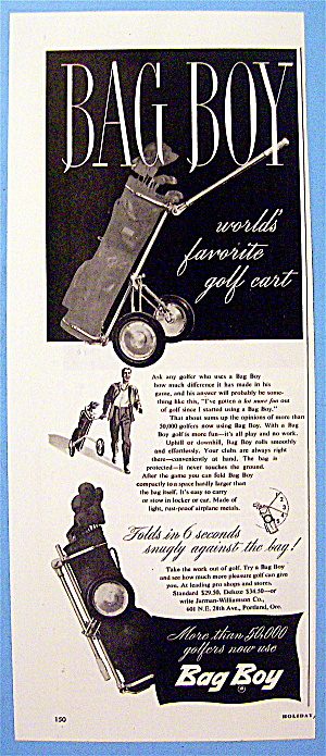 1949 Bag Boy With Golf Cart & Clubs