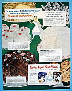 Vintage Ad:1951 Swan's Cake Mixes w Alice In Wonderland (Image1)