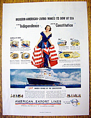 1951 American Export Lines W/ Woman In Patriotic Dress