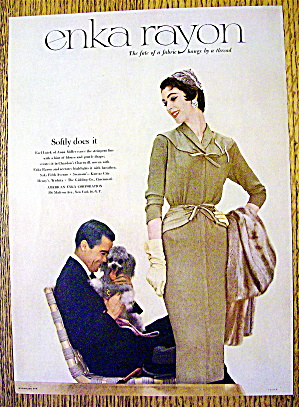 1953 Enka Rayon with Lovely Woman & Man with Dog (Image1)