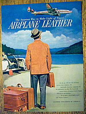 1954 Airplane Leather with Man Looking At Plane In Sky (Image1)