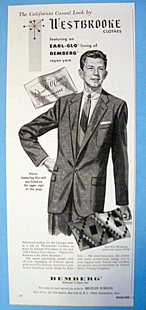 1954 Westbrooke Clothes With Donald O'connor