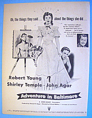 1949 Adventure In Baltimore With Shirley Temple