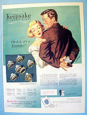 1949 Keepsake Rings With Woman And Man With Ring