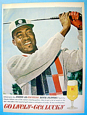 1963 Lucky Lager With Golf Pro Charlie Sifford
