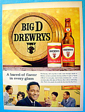1963 Drewry's Beer with Man and Glass Of Beer (Image1)