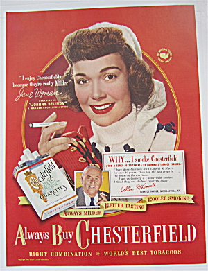 1948 Chesterfield Cigarettes With Jane Wyman