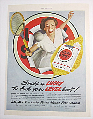 1949 Lucky Strike Cigarettes with Woman Tennis Player (Image1)