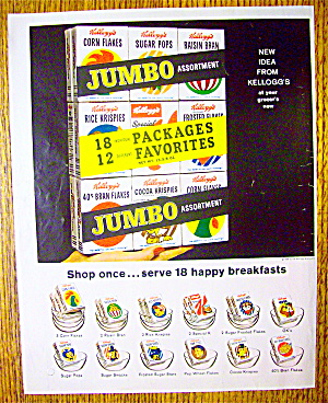 1963 Kellogg's Jumbo Pack With 18 Boxes Of Cereal