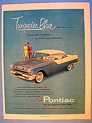 1955 Pontiac With Turquoise Blue & White Mist