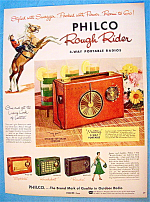 1956 Philco Radio With Rough Rider Portable Radio