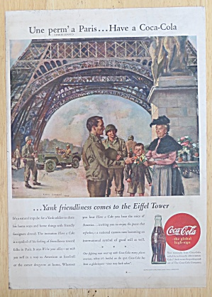 1945 Coca Cola (Coke) With Soldiers By The Eiffel Tower