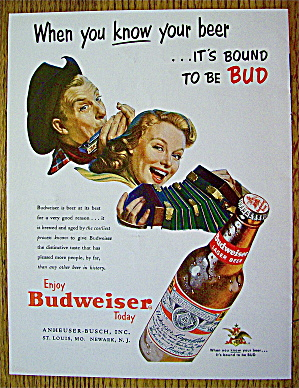 1953 Budweiser Beer With Man & Woman W/instruments