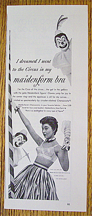 1953 Maidenform Bra with Woman & Two Clowns (Image1)