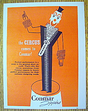 1953 Conmar Zippers With Circus Clown