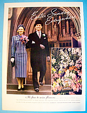 1938 Florist Telegraph Delivery W/man & Woman At Easter
