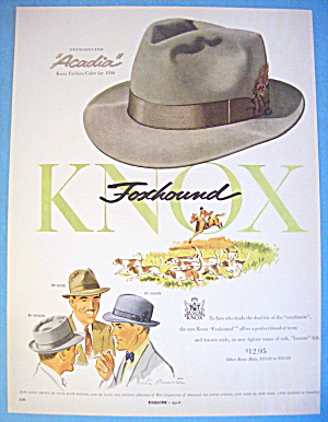 1956 Knox Hats With Foxhound In Acadia