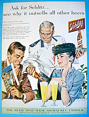 1956 Schlitz Beer With Couple At Restaurant