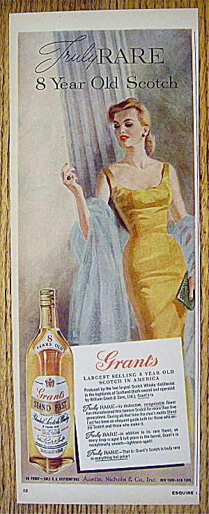 1960 Grant's Whiskey With Lovely Woman In Yellow Dress