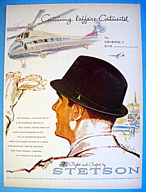 1960 Stetson Hats with Man Wearing Continental II Hat (Image1)