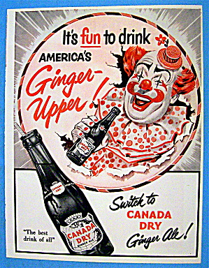 1953 Canada Dry Ginger Ale With Circus Clown