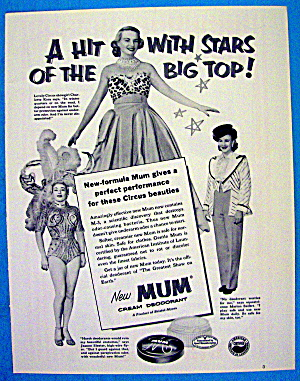 1953 Mum Deodorant With Circus Beauties