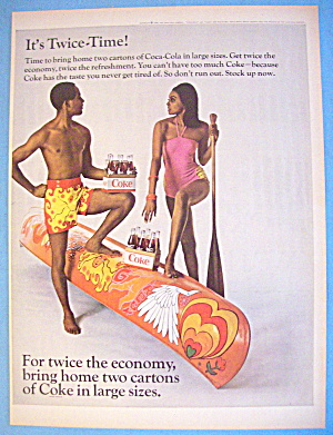 1968 Coca Cola (Coke) With Man, Woman & Canoe