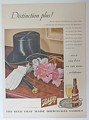 1945 Schlitz Beer with Top Hat. Corsage, Gloves & Cane  (Image1)