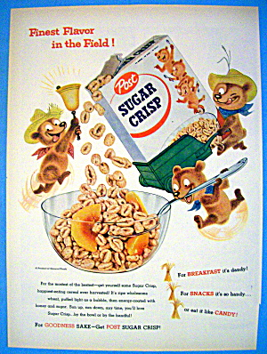1955 Post Sugar Crisp Cereal W/ 3 Bears Pouring Cereal